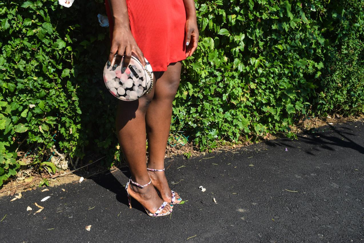 Befitting Style Oyinkan Wearing Simple Red T-Shirt Dress 24