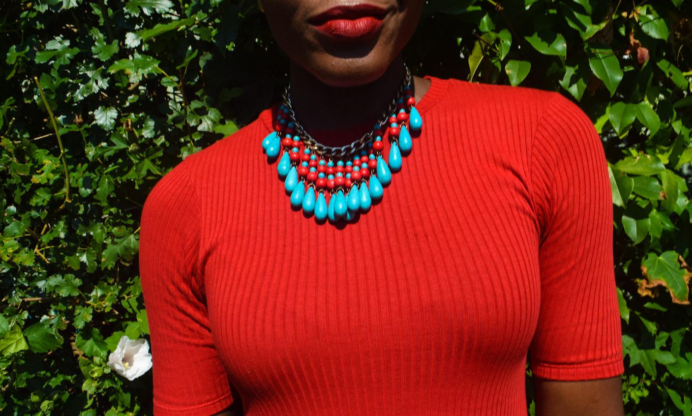 Befitting Style Oyinkan Wearing Simple Red T-Shirt Dress 26