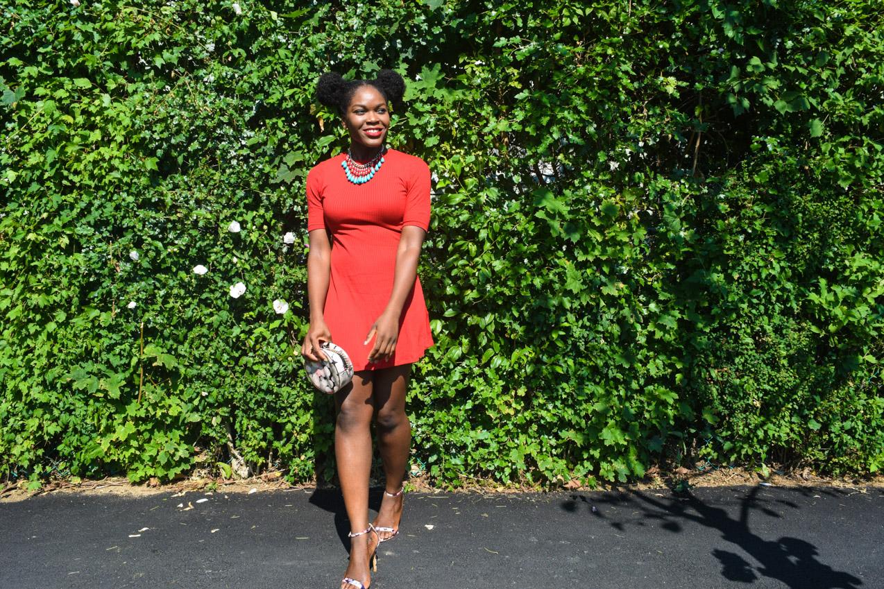 Befitting Style Oyinkan Wearing Simple Red T-Shirt Dress 6