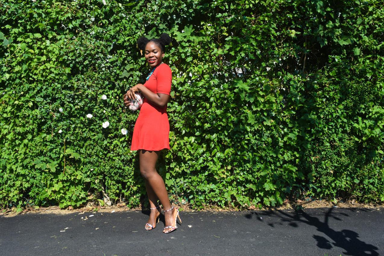 Befitting Style Oyinkan Wearing Simple Red T-Shirt Dress 7