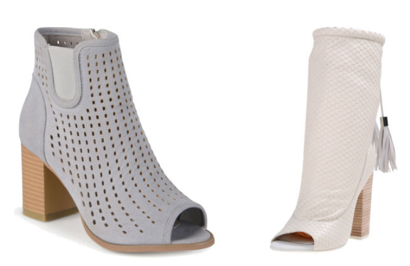Gray and white peep toe bootie under 100