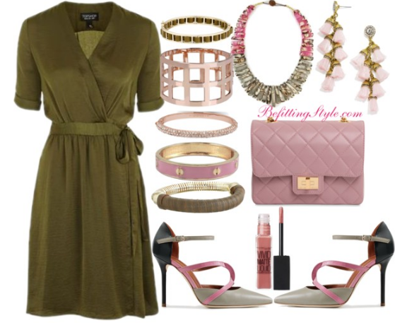 olive-fall-wrap-dress-pink-accessories-befitting-style