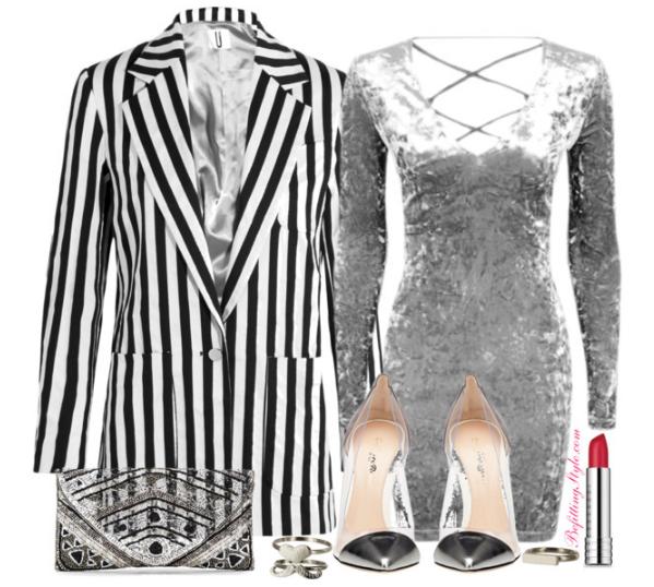 befitting-style-black-white-blazer-gray-dress