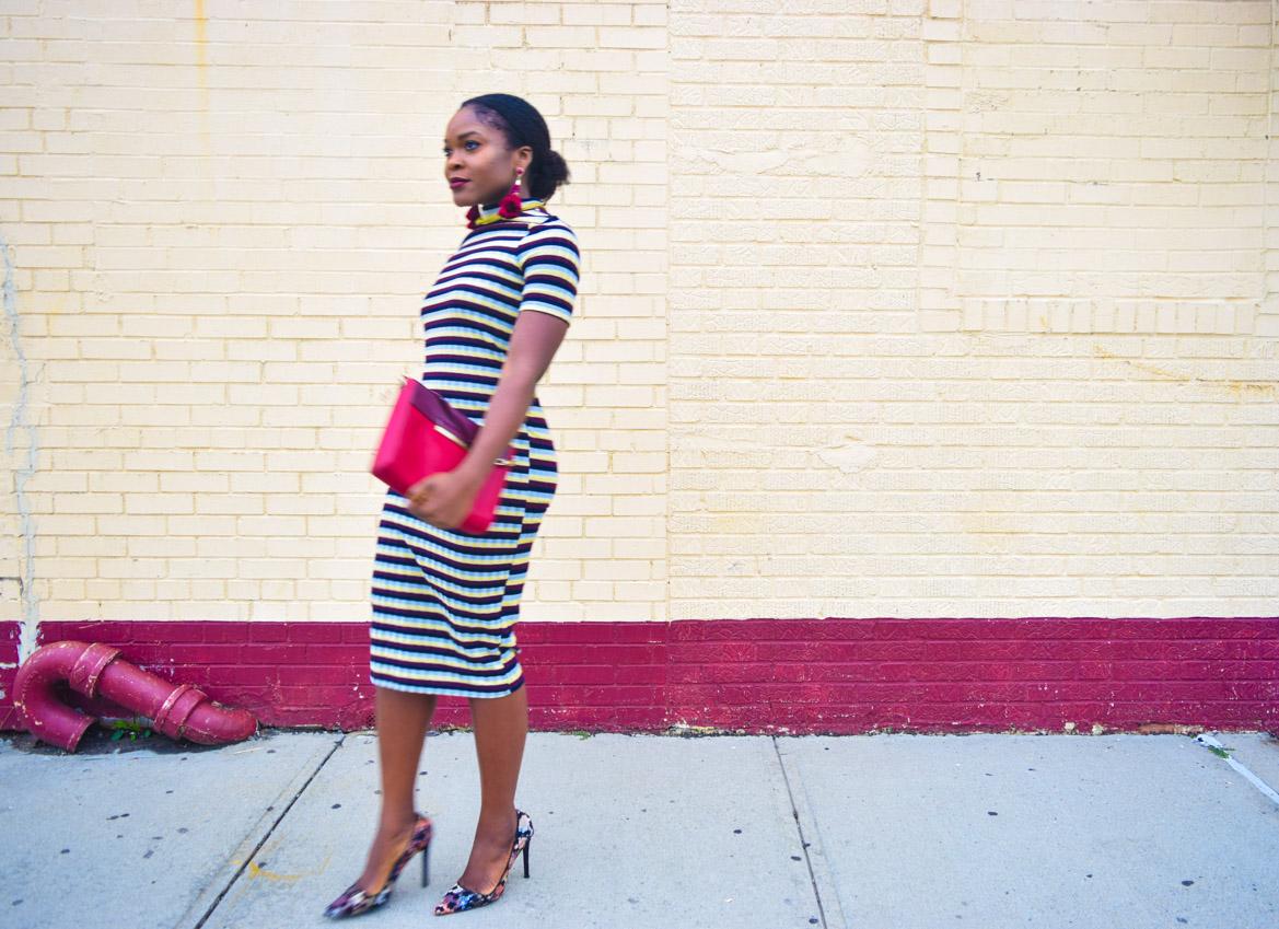 befitting-style-oyinkan-wearing-short-sleeve-maroon-stipe-sweater-dress-10
