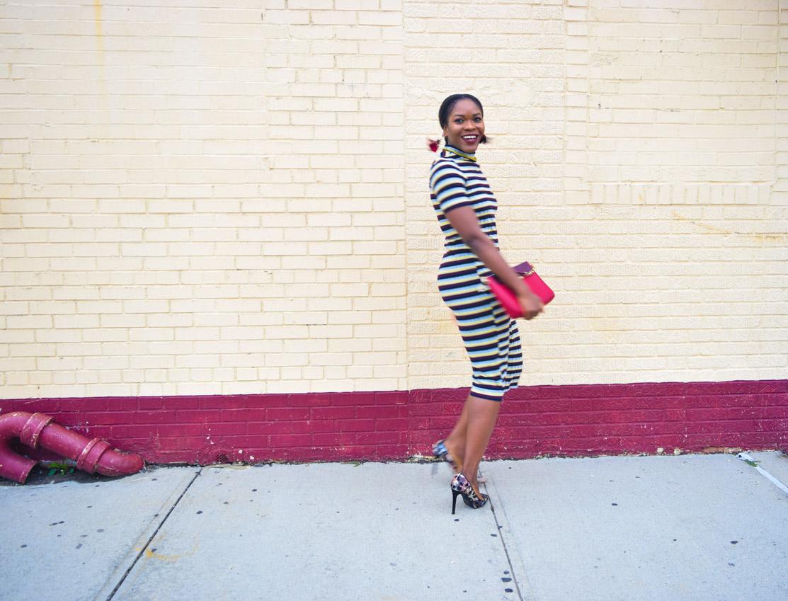 befitting-style-oyinkan-wearing-short-sleeve-maroon-stipe-sweater-dress-11