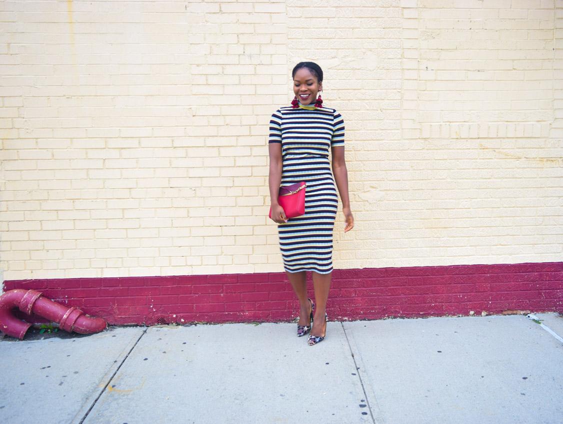 befitting-style-oyinkan-wearing-short-sleeve-maroon-stipe-sweater-dress-12