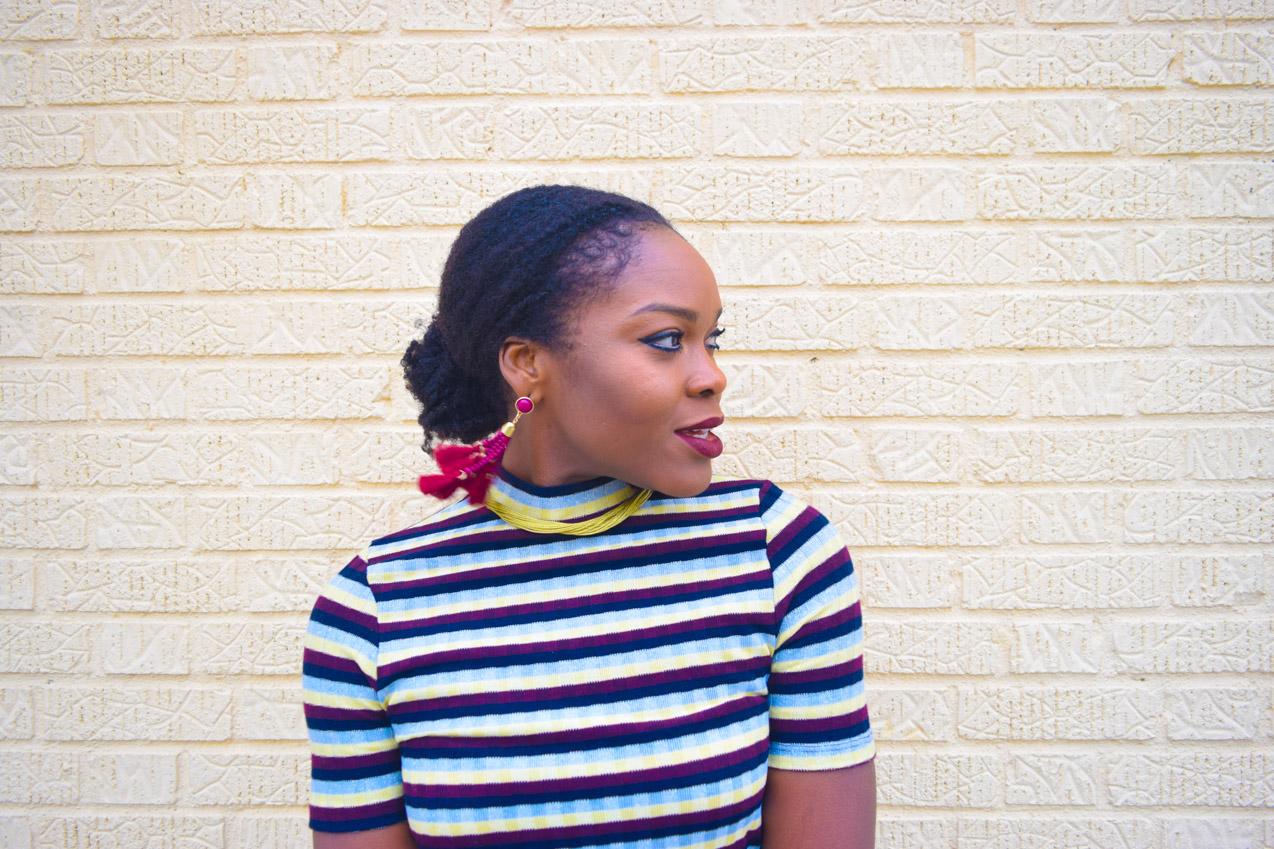 befitting-style-oyinkan-wearing-short-sleeve-maroon-stipe-sweater-dress-15