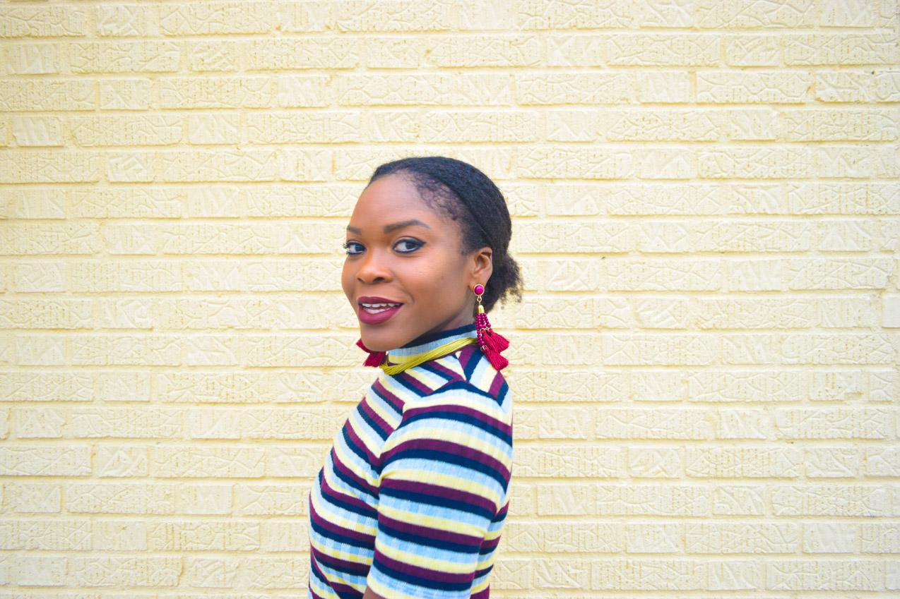 befitting-style-oyinkan-wearing-short-sleeve-maroon-stipe-sweater-dress-16