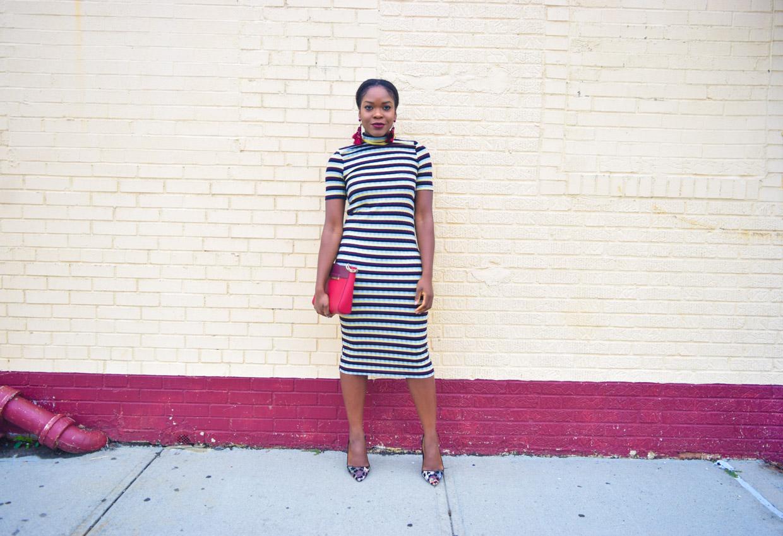 befitting-style-oyinkan-wearing-short-sleeve-maroon-stipe-sweater-dress-2