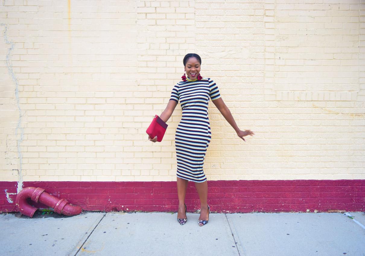 befitting-style-oyinkan-wearing-short-sleeve-maroon-stipe-sweater-dress-6