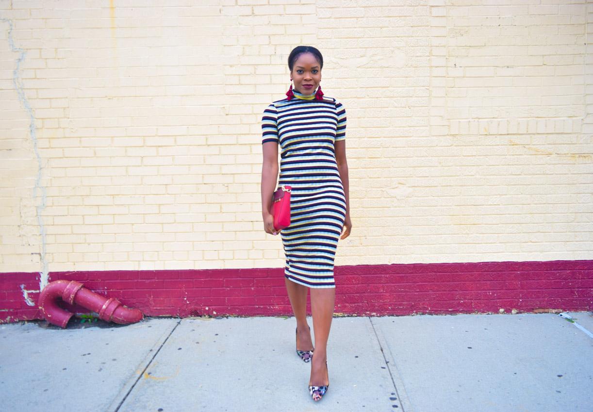 befitting-style-oyinkan-wearing-short-sleeve-maroon-stipe-sweater-dress-7