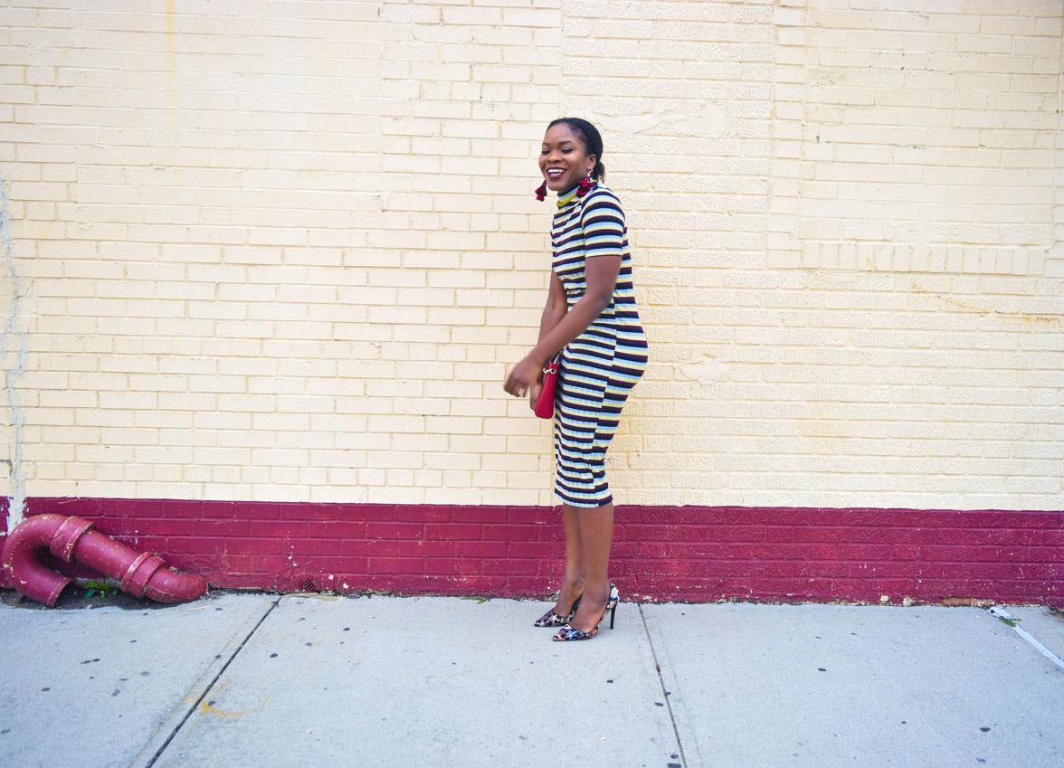 befitting-style-oyinkan-wearing-short-sleeve-maroon-stipe-sweater-dress-8