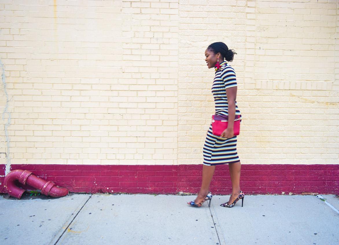 befitting-style-oyinkan-wearing-short-sleeve-maroon-stipe-sweater-dress-9