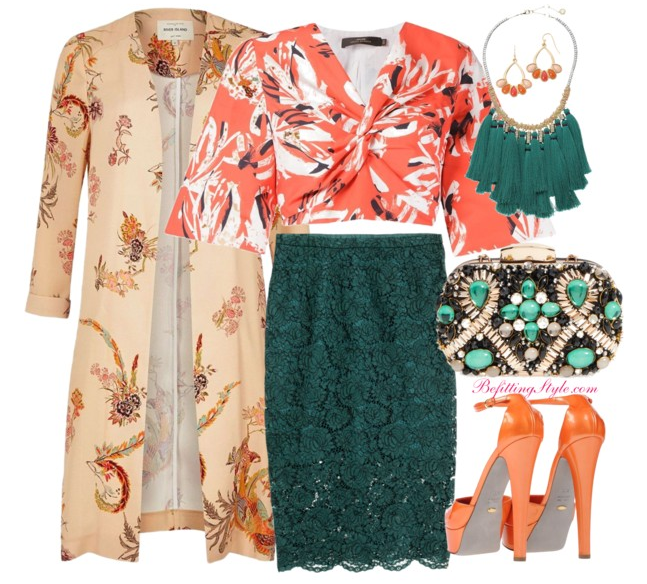 befitting-style-printed-duster-lace-skirt-printed-flare-sleeve-top