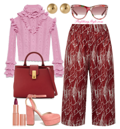 ruffles-sweater-with-printed-burgundy-pants how to dress to work this week