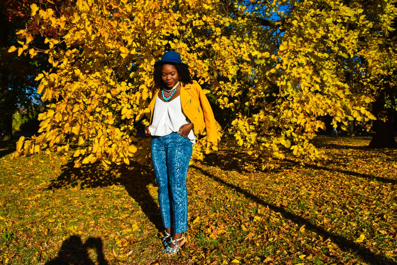 befitting-style-oyinkan-wearing-yellow-leather-jacket-blue-pants-2