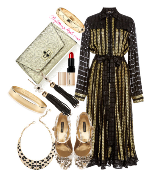 thanksgiving-dinner-party-black-gold-dress-embellished-heel-befitting-style
