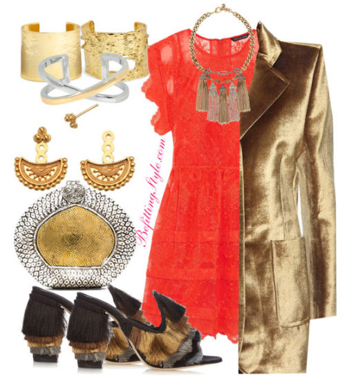 thanksgiving-dinner-party-orange-dress-gold-blazer-befitting-style