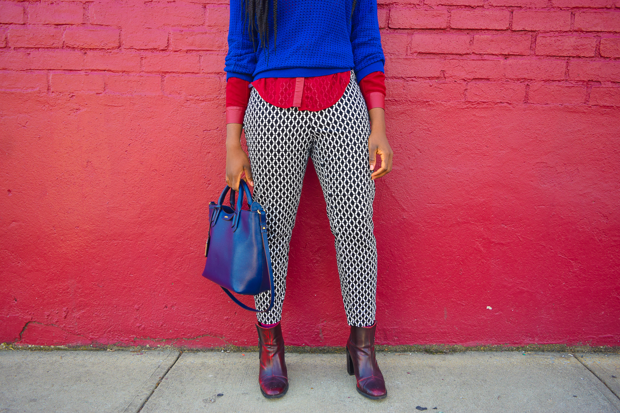 Befitting Style Oyinkan Wearing Maroon Burgundy Blue Color Block Mix it Up 8