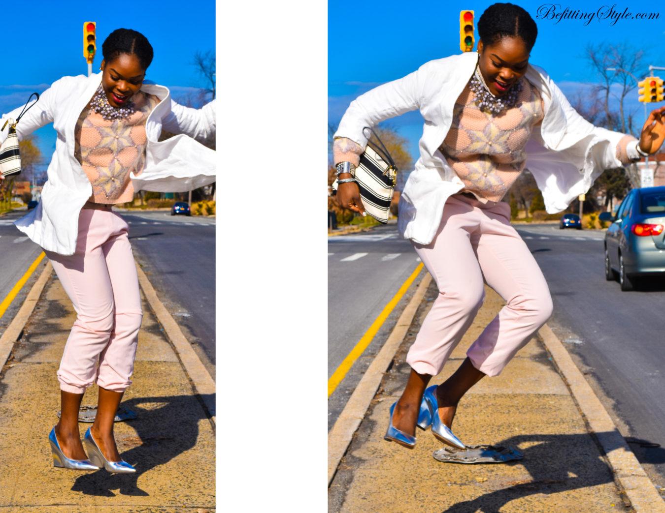 Befitting Style NYFW Oyinkan Wearing Pastel Sweater Pants White Blazer Metallic Shoes 4
