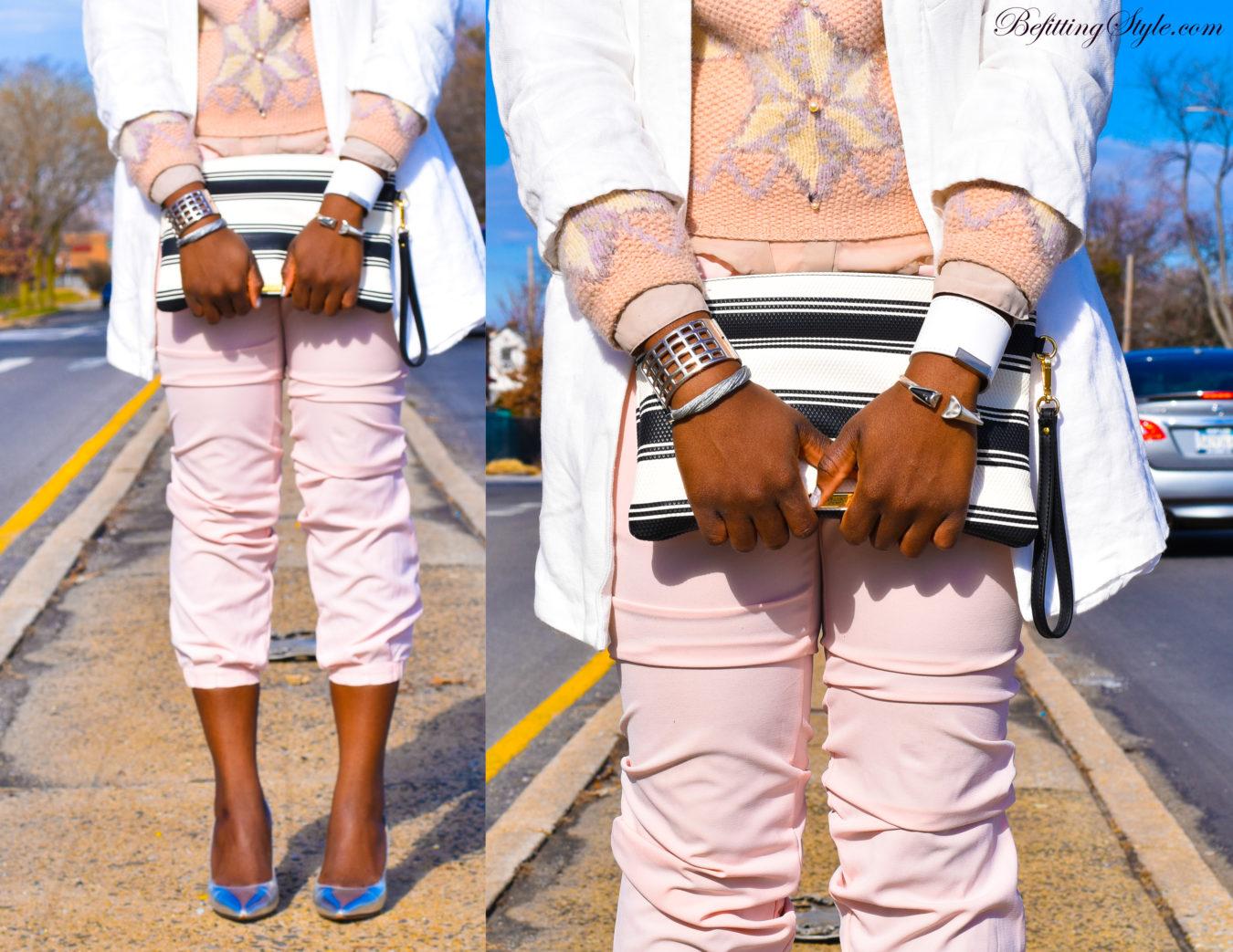 Befitting Style NYFW Oyinkan Wearing Pastel Sweater Pants White Blazer Metallic Shoes 3