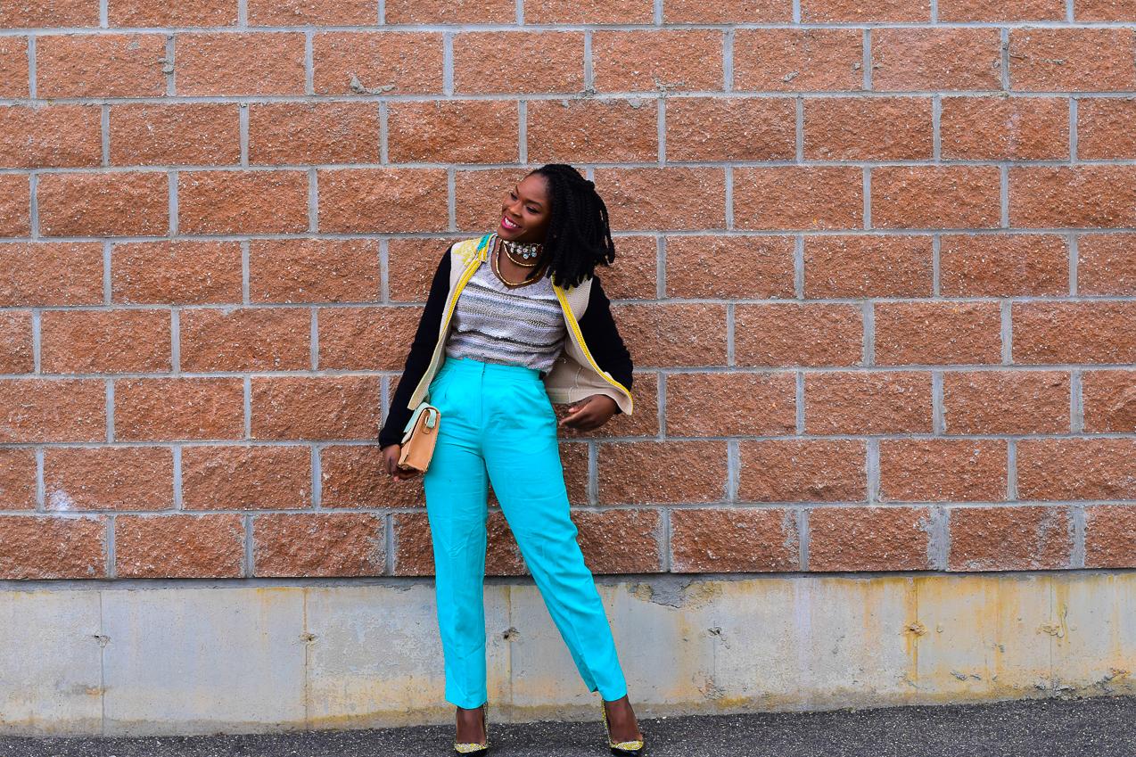 Befitting Style Oyinkan Wearing Embellished Cardigan Light Blue Pants NYFW FW17 Day 5