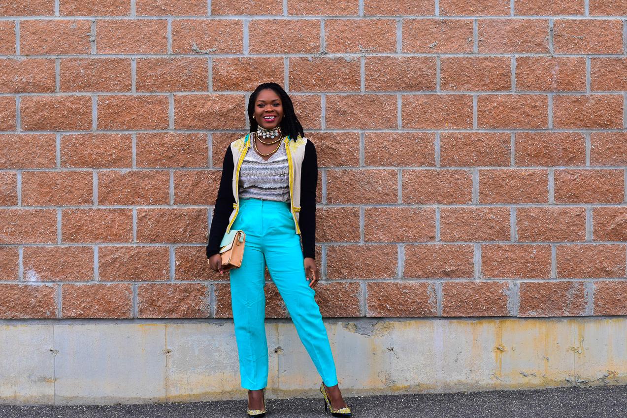 Befitting Style Oyinkan Wearing Embellished Cardigan Light Blue Pants NYFW FW17 Day 5 6