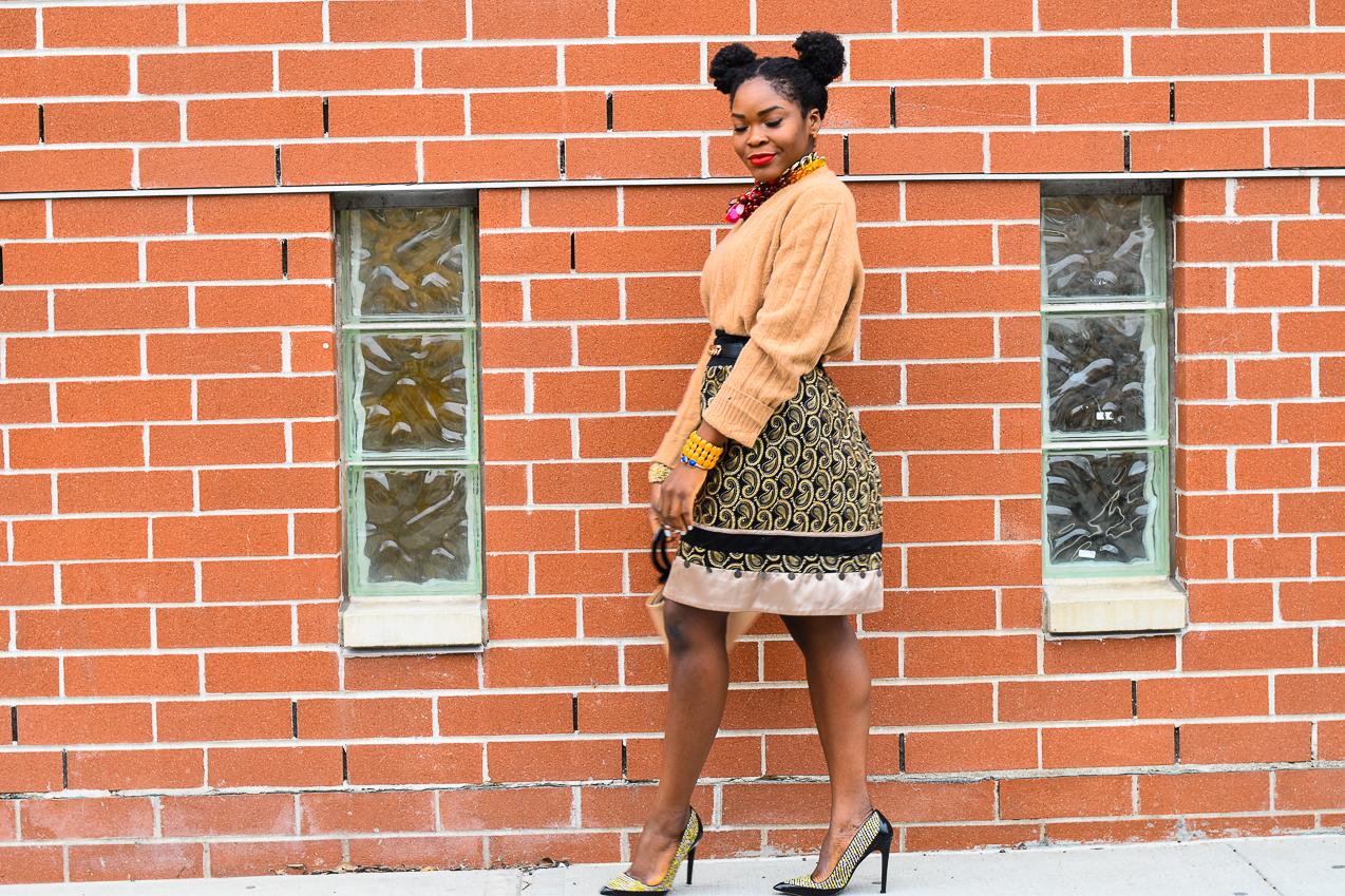 Befitting Style NYFW NYFWM FW 17 Oyinkan Wearing Oversized Sweater Embellished Skirt Tweed Shoes 2