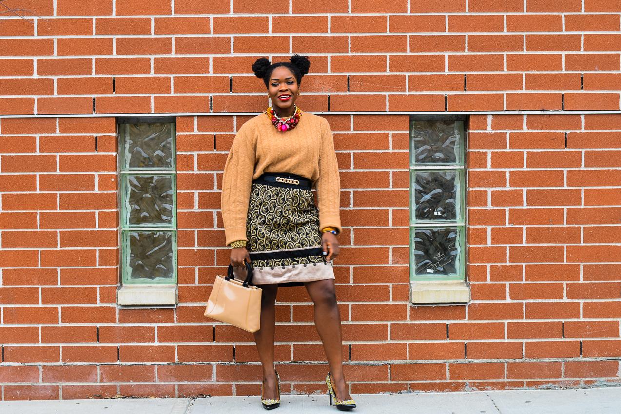 Befitting Style NYFW NYFWM FW 17 Oyinkan Wearing Oversized Sweater Embellished Skirt Tweed Shoes 3