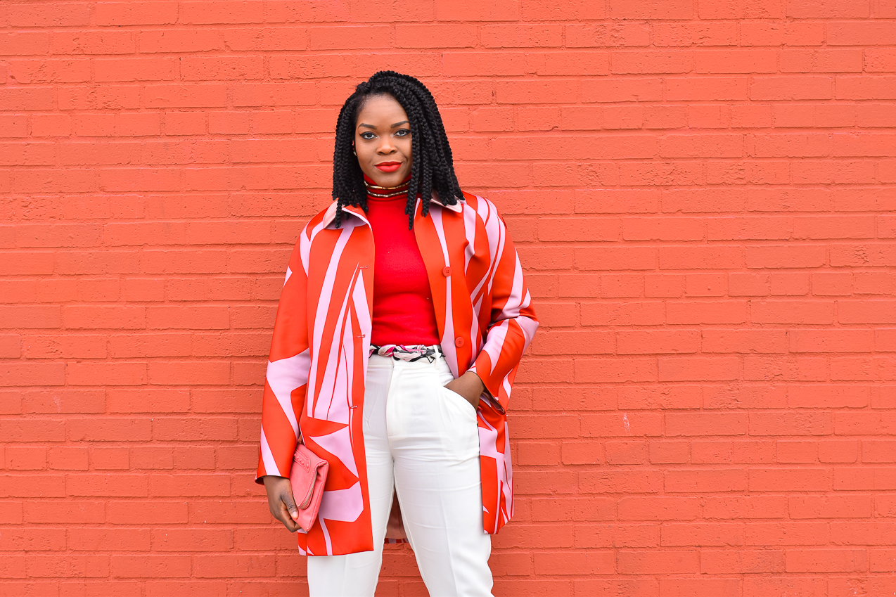 Befitting Style Oyinkan Wearing Jil Sander Red Pink Jacket Red Turtleneck Valentine's Day Look NYFW FW17 Day 6 2