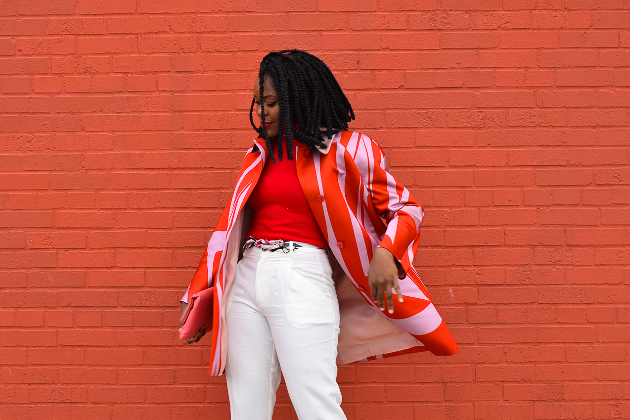 Befitting Style Oyinkan Wearing Jil Sander Red Pink Jacket Red Turtleneck Valentine's Day Look NYFW FW17 Day 6 1