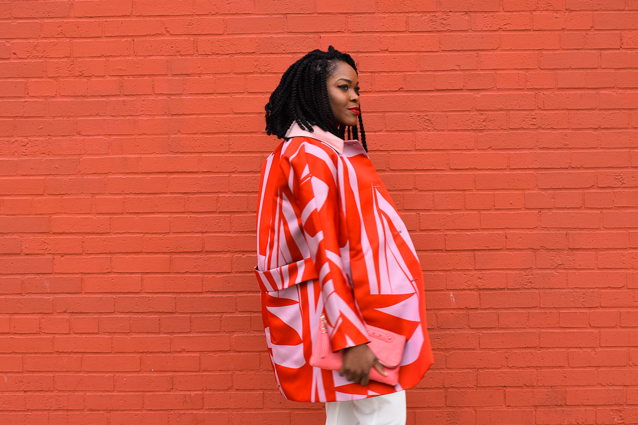 Befitting Style Oyinkan Wearing Jil Sander Red Pink Jacket Red Turtleneck Valentine's Day Look NYFW FW17 Day 6 9