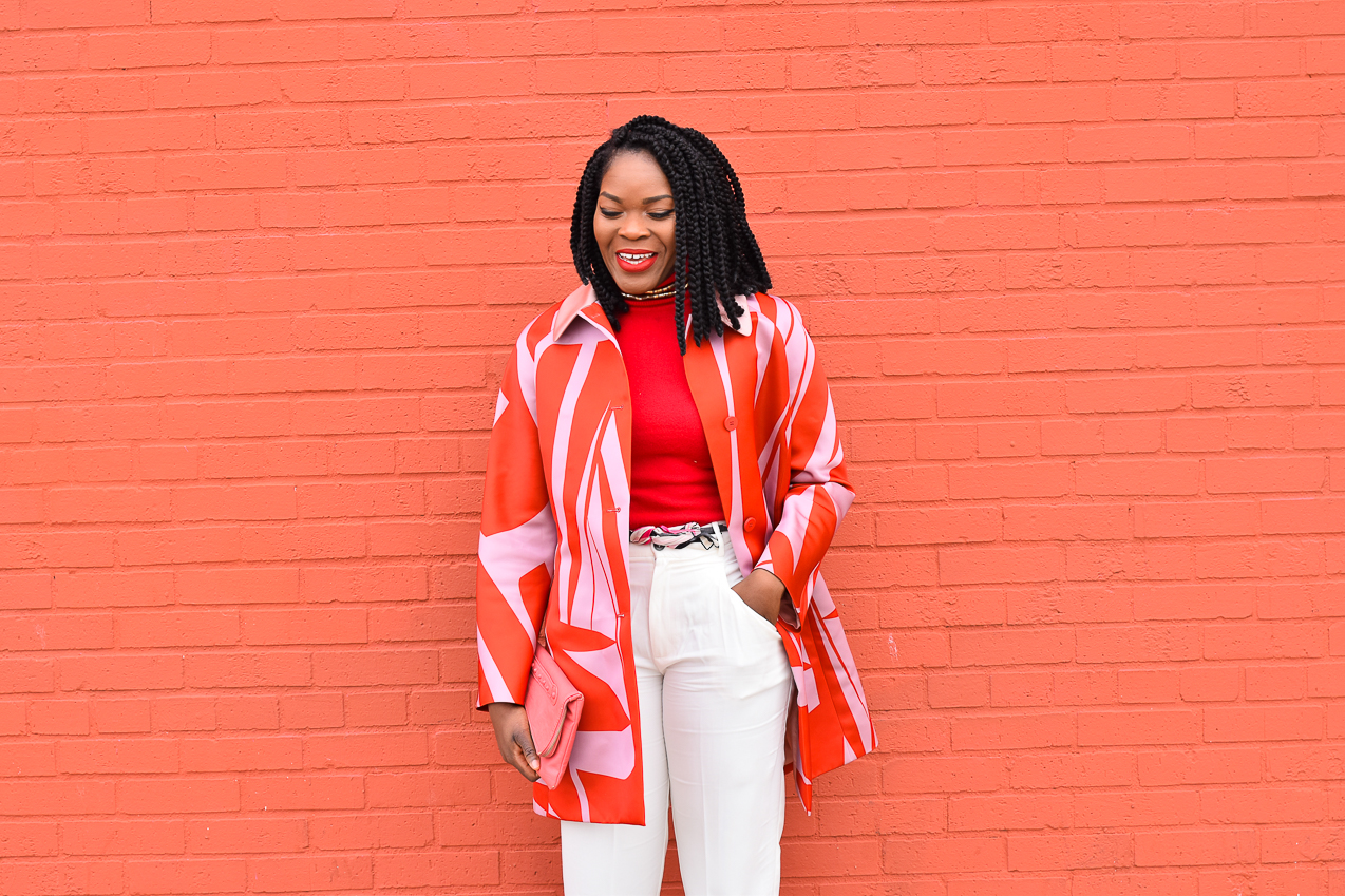 Befitting Style Oyinkan Wearing Jil Sander Red Pink Jacket Red Turtleneck Valentine's Day Look NYFW FW17 Day 6 5