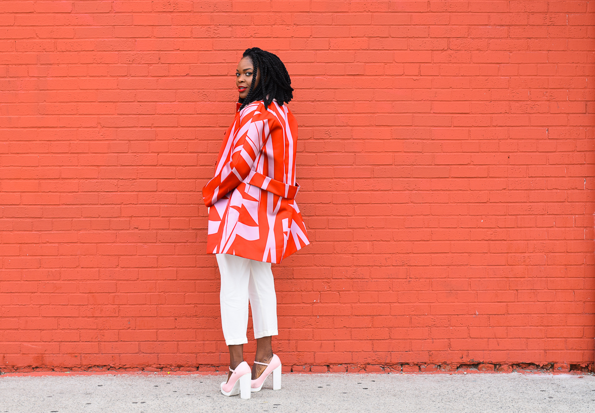 Befitting Style Oyinkan Wearing Jil Sander Red Pink Jacket Red Turtleneck Valentine's Day Look NYFW FW17 Day 6 8
