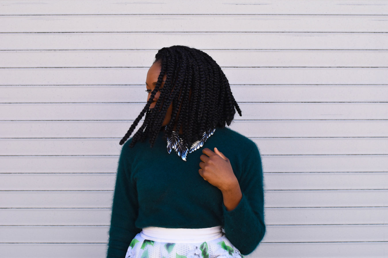 Befitting Style Oyinkan Wearing Full Skirt Fuzzy Sweater NYFW 2