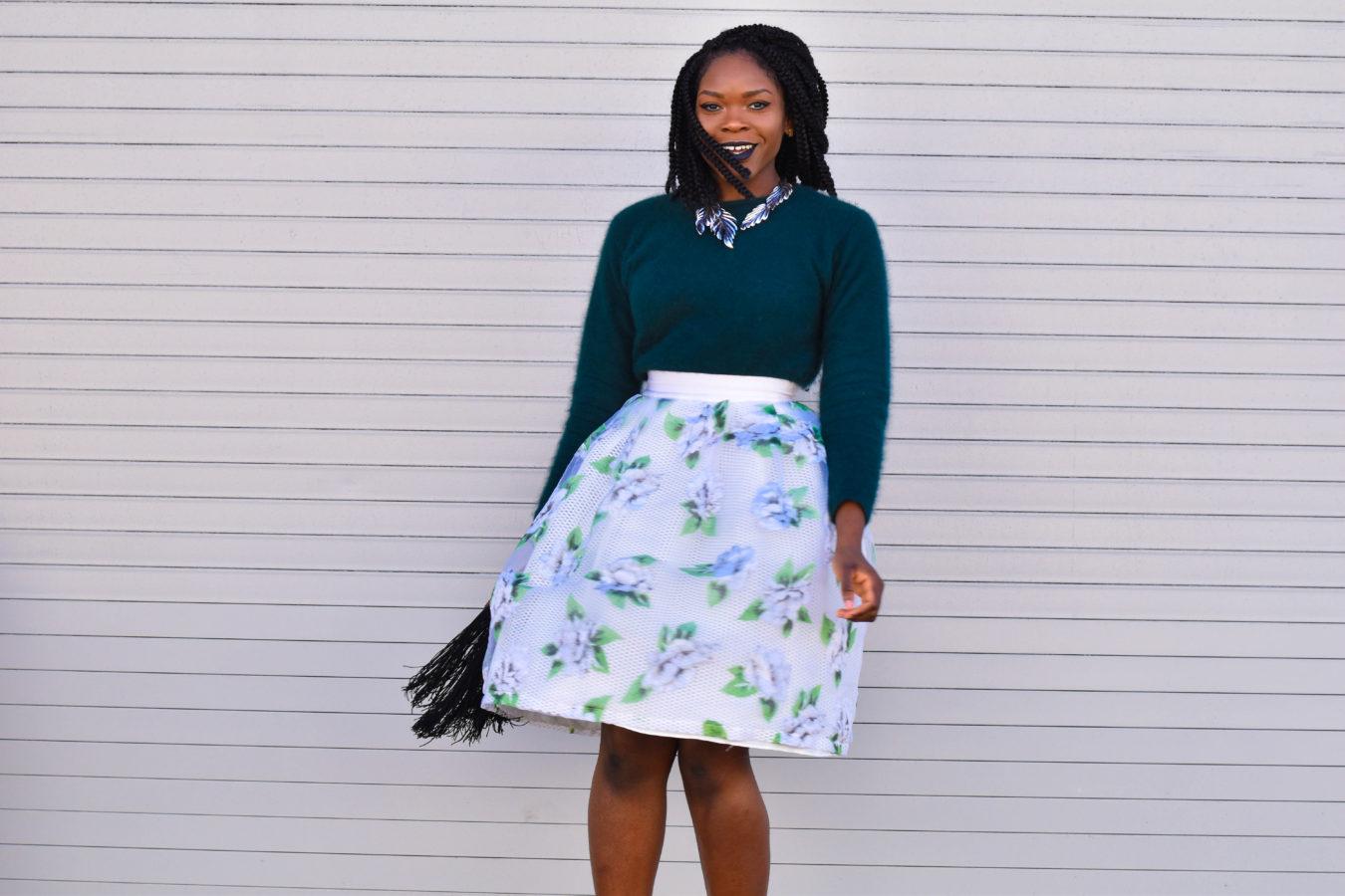 Befitting Style Oyinkan Wearing Full Skirt Fuzzy Sweater NYFW 1