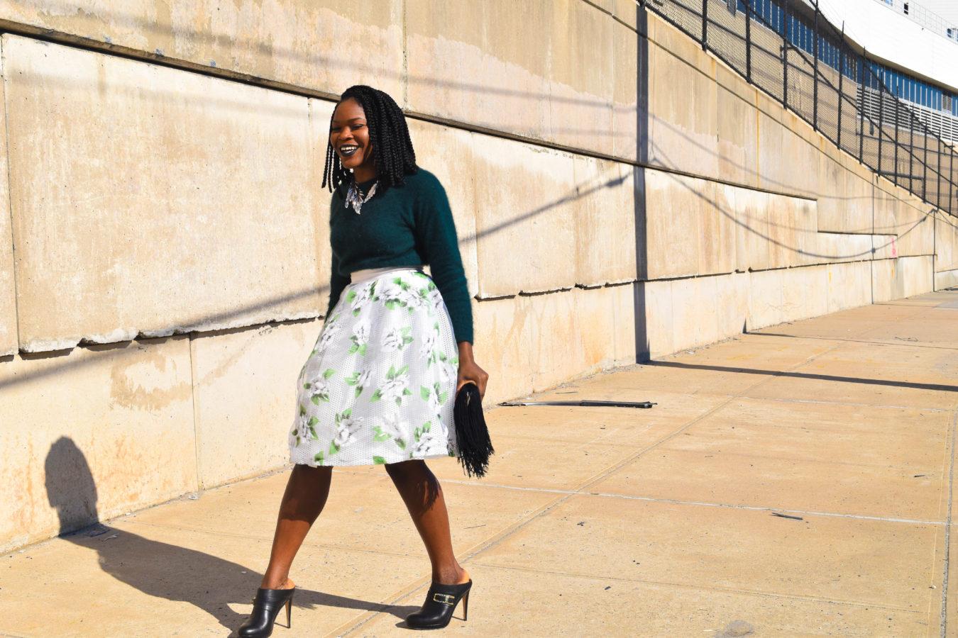 Befitting Style Oyinkan Wearing Full Skirts Fuzzy Sweater NYFW 5
