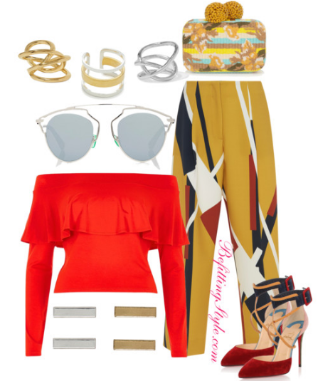 Color Block into Spring -Yellow Pants Red Off the Shoulder Top - Befitting Style