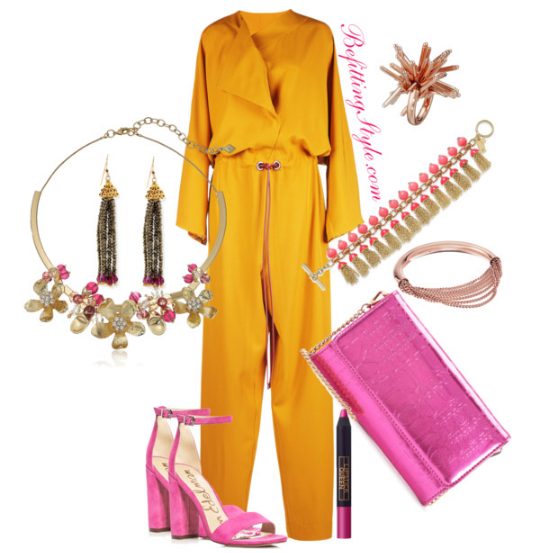 Color Block into Spring -Yellow Jumpsuit- Pink Heels Befitting Style