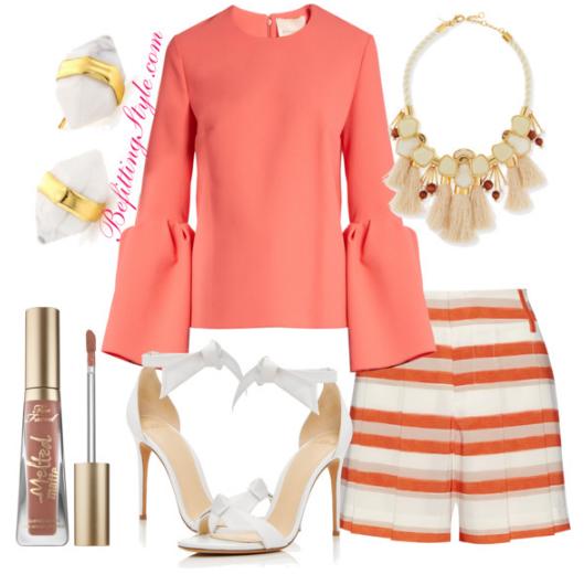 How To Wear Coral Roksanda Truffaut Bell Sleeve Top - Befitting Style