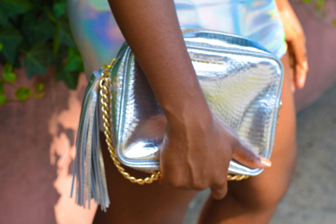 Metallic Mini Skirt + Lace Crop Top   Miami Swim Week 2017