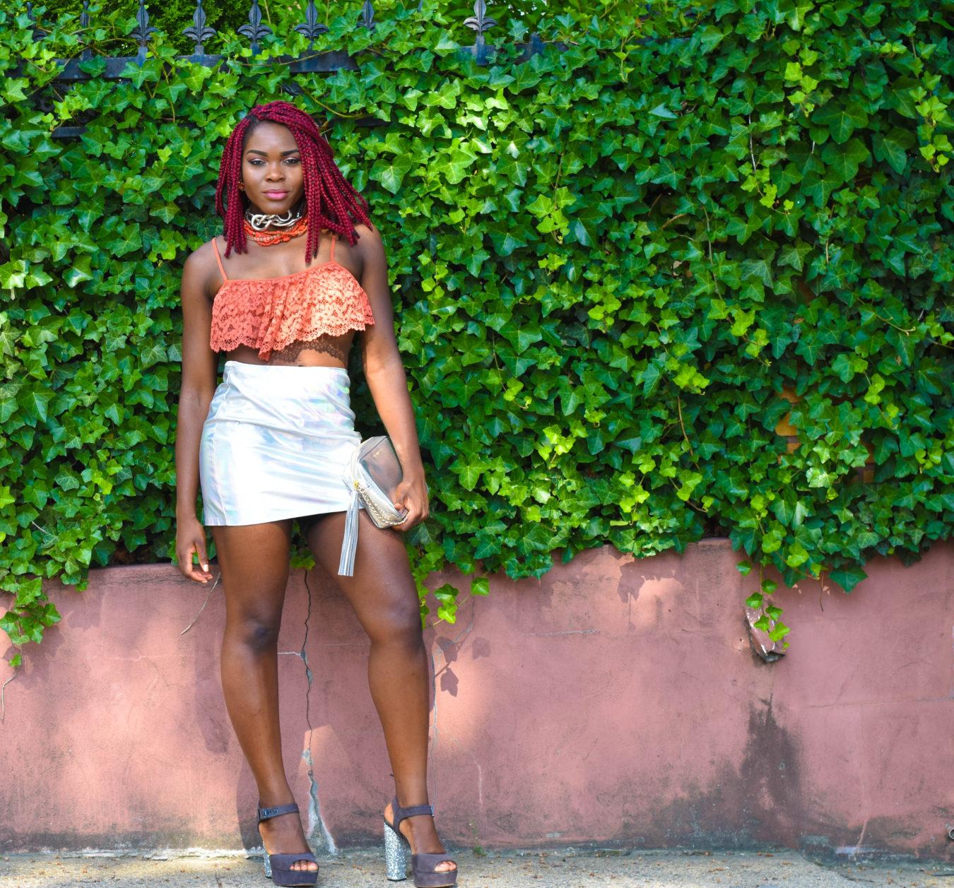 Metallic Mini Skirt + Lace Crop Top   Miami Swim Week 2017 - Befitting Style