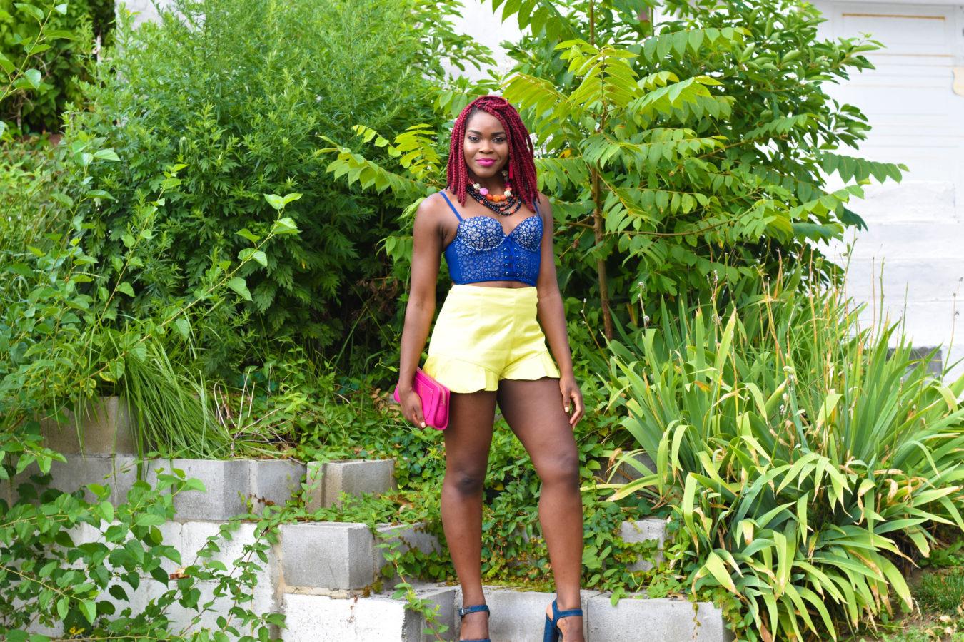 Navy Bustier + Yellow Ruffle Shorts | Miami Swim Week 2017 - Befitting Style