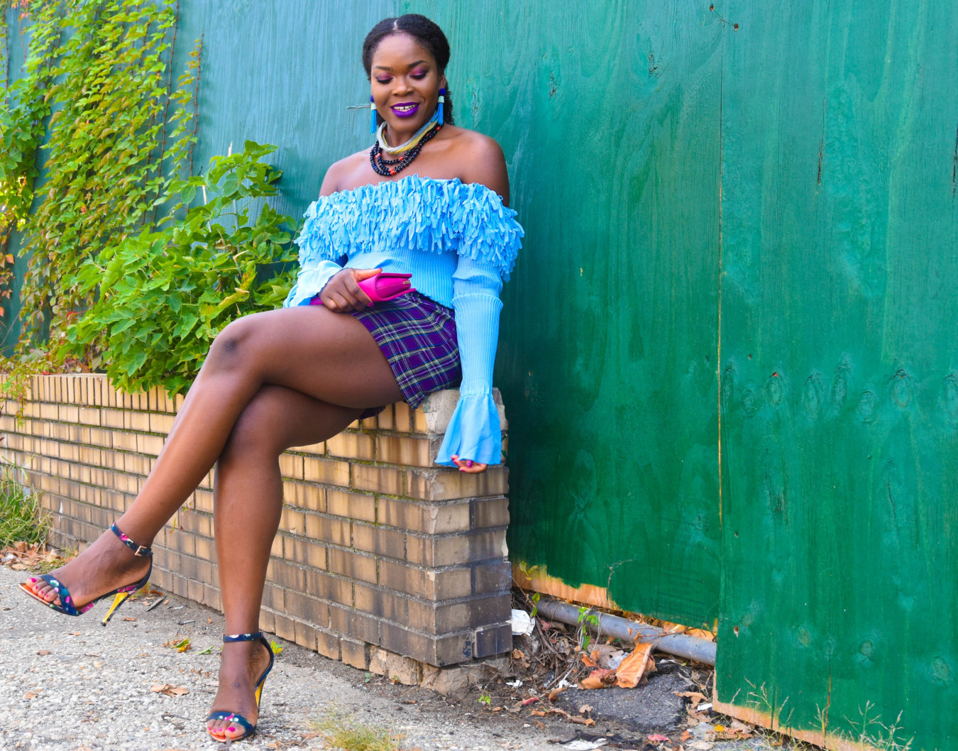 Do I Get Tired Of Off The Shoulder Styles? | Pastel + Purple Plaid Skirt - Befitting Style