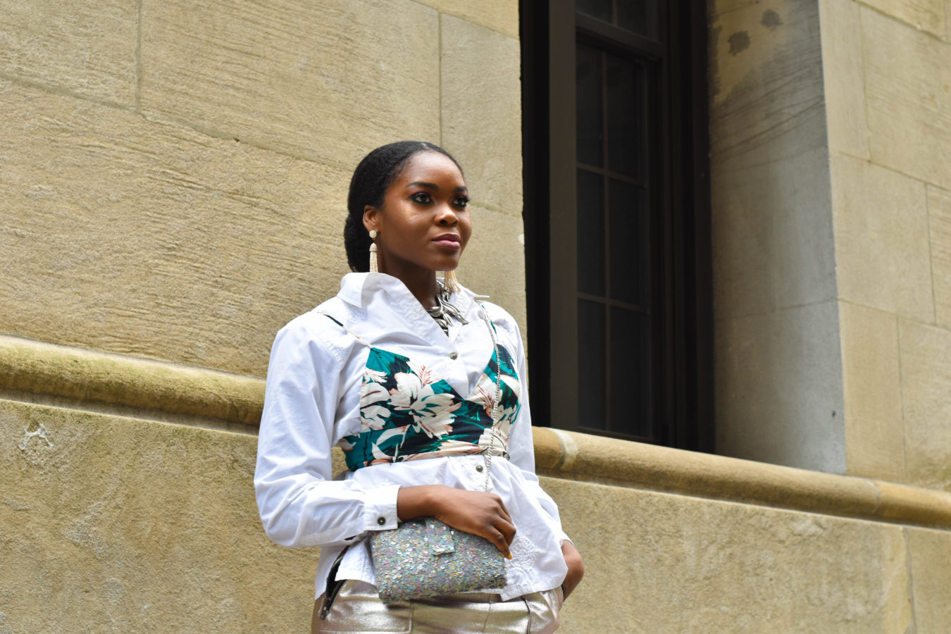 Befitting Style Oyinkan Wearing Spring Layers Crop Top Over Button Down With Simitri Designs Bag