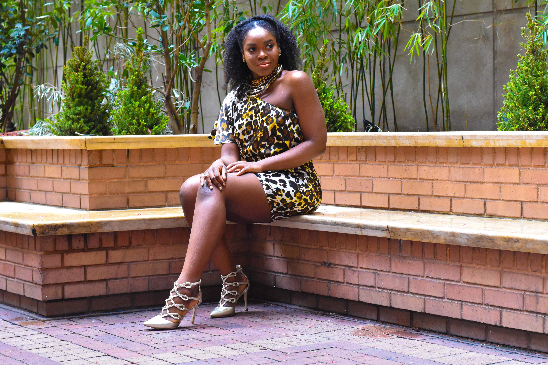 Befitting Style Oyinkan Wearing One Shoulder Cheetah Dress 11