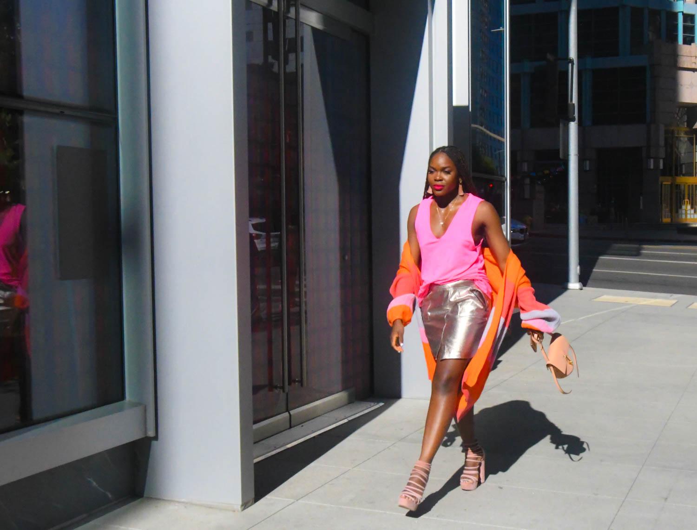 Befiting-Style-Oyinkan-wearing-Silver-Metallic-Skirt-Colorblock-Sweater